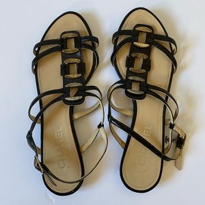CHANEL chocolate strappy sandals